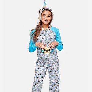 Justice Pugicorn one piece sleeper onesie pajama